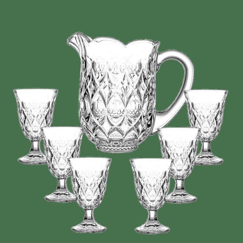 Jogo Jarra Com 6 Copos Cristal Lile